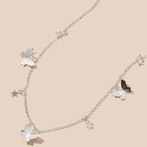 3/$30 Silver Butterfly Stars Charm Necklace